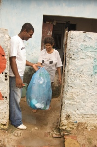 Collecting rubbish for recycling