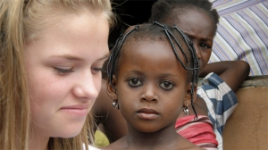 Megan (front) with children in Nigeria