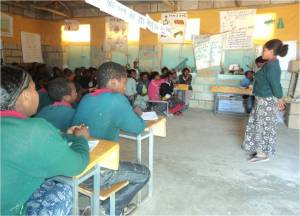 Lemlem Berhe training school children in Ethiopia