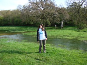 Becky at source of river Thames