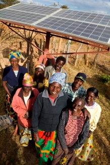 Clara Nkete in Zambia with solar panel