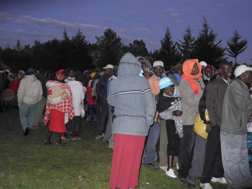 Voters queing at Kadenye polling station, in Molo, in the Rift Valley before polls opened at 6am.