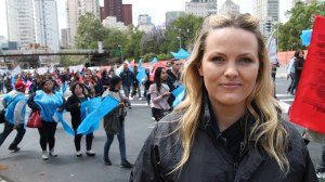 Jo Joyner in Sao Paolo with CAFOD