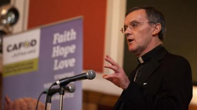Bishop John Arnold speaking at a Hungry for change event
