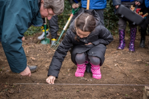 Pupils at St Laurence's Catholic Primary School in Cambridge Dig Deep with help from TV presenter & gardener Christine Walkden to highlight global hunger.