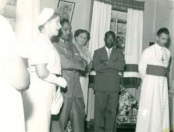 Opening of Infant Jesus - left to right - Mrs Lovelace, wife of Administrator; Chief Minister; Social Welfare Officer; Minister of Social Services; Bp Boghaert