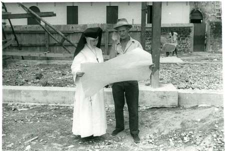 Sister Alicia and foreman on the new hospital building site, Dominica - CAFOD