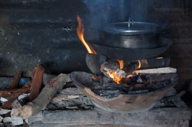 cooking pot on a fire