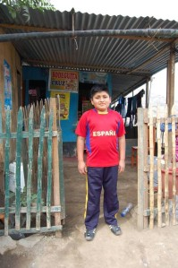 Elvis outside the shop - Peru, CAFOD