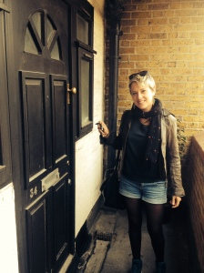 Eilidh with the keys to her new flat