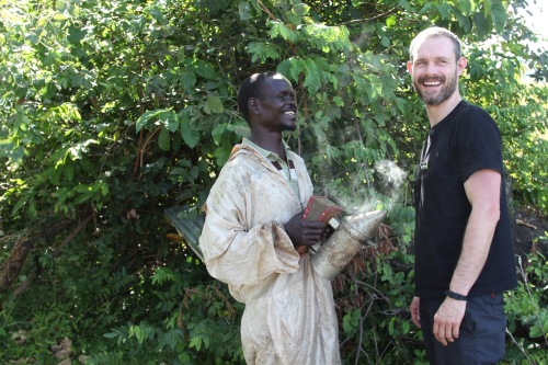 Ben Price with beekeeper Paul, Uganda, CAFOD