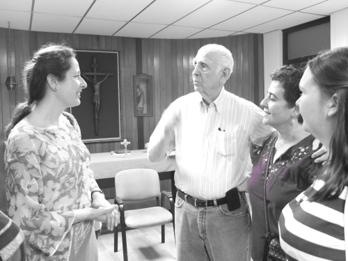 Bernadette met Fr Fernando Cardenal, SJ, and Montse from the CAFOD Central America Team