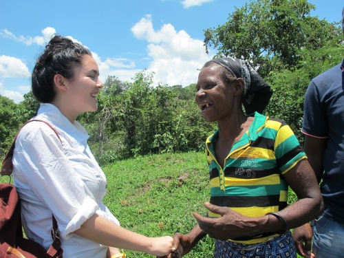 Leila meeting women who have been supported by CAFOD