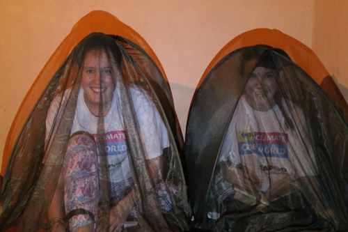 Step and Kate in their mosquito nets