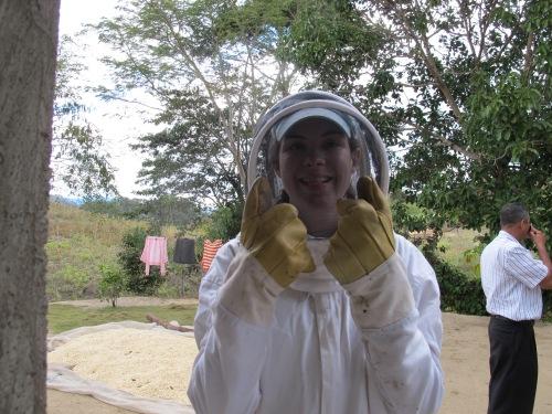 Kate in beekeeping gear