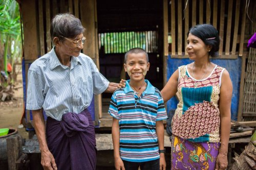 Martin with his parents - Myanmar