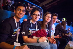 Nathaniel and Remi with other CAFOD young leaders at Flame2