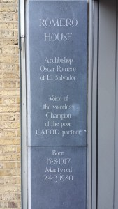 The plaque at the entrance to Romero House, CAFOD's headquarters