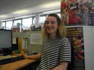 Orla volunteering in CAFOD's Romero House office
