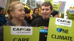 Francis (right) at the climate march in London.
