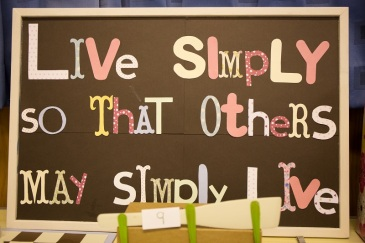 Livesimply sign at Our Lady and St Edward's church, Lancaster diocese
