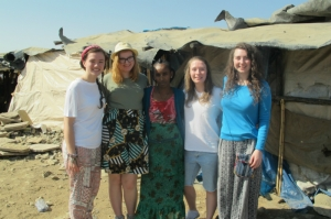 Sophie Hull, Hannah, Lemlem, Bridgid and Sophie Bray in Mekelle.