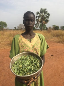 Monica Achol Deng collects leaves for her children to eat